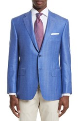 Canali Men's Big And Tall Classic Fit Herringbone Wool Blend Sport Coat Blue