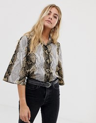 Influence Snake Print Blouse With 3 4 Flare Sleeve Snake Print Brown