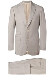 Canali Two Piece Suit Nude Neutrals