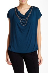 Laundry By Shelli Segal Draped Chain Accent Blouse Green