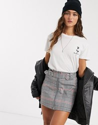 Bershka Zip Front Check Mini Skirt In Grey Multi
