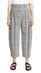 See By Chloe Plaid Trousers Black White