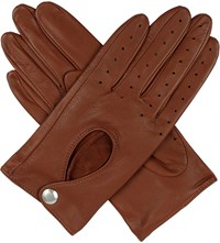 Dents Leather Keyhole Driving Gloves Cognac