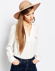 Asos Double Snake Band And Buckle Felt Floppy Hat Stone