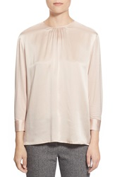Pink Tartan Dolman Sleeve Silk And Jersey Blouse Pale Pink