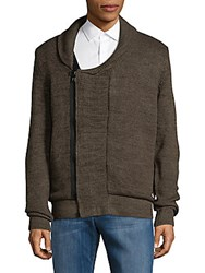 American Stitch Shawl Collar Sweater Olive Brown