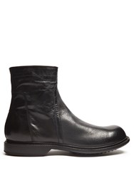 Rick Owens Creased Leather Ankle Boots Black
