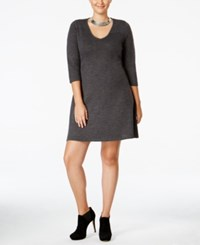 Ny Collection Plus Size Fit And Flare Sweater Dress Charcoal Heather
