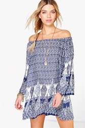 Boohoo Off Shoulder Paisley Swing Dress Navy