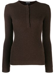 Tom Ford Ribbed Cashmere Sweater Brown