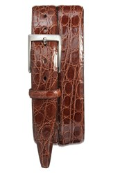 Torino Belts Men's Big And Tall Caiman Alligator Leather Belt Cognac Brown