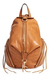 Rebecca Minkoff Medium Julian Leather Backpack Brown Cuoio Light Gold