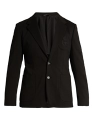 Dolce And Gabbana Embroidered Patch Pocket Blazer Black