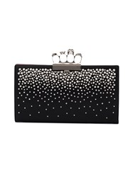 Alexander Mcqueen Knuckle Duster Clutch With Studs Leather Metal Other Black