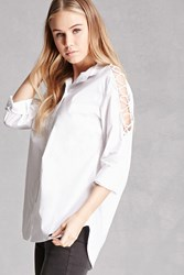 Forever 21 Pixie And Diamond Lace Up Shirt White