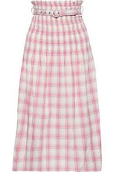 Nicholas Woman Belted Shirred Checked Crinkled Cotton Midi Skirt Pink