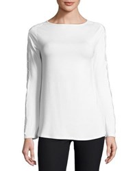 Neiman Marcus Boat Neck Lace Trimmed Top Black