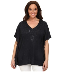 Michael Michael Kors Plus Size Embroidered Kaftan Top New Navy Women's Short Sleeve Pullover