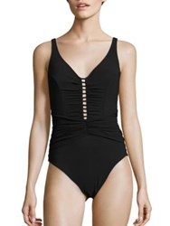 Gottex Swim Cocktail Party Ruched One Piece Swimsuit Black