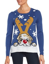 By Design Dog Ugly Christmas Sweater Royal Blue