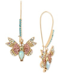 Betsey Johnson Gold Tone Multi Crystal Butterfly Drop Earrings