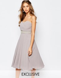 Tfnc Wedding Embellished Waist Prom Dress Grey