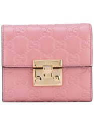 Gucci Gg Signature Padlock Wallet Women Calf Leather One Size Pink Purple