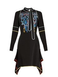 Peter Pilotto Neck Tie Embroidered Cady Dress Black Multi