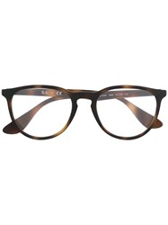 Ray Ban Round Frame Glasses Brown