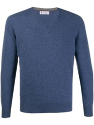 Brunello Cucinelli Relaxed Fit Cashmere Jumper Blue