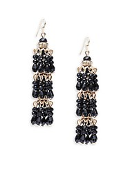Gemma Simone Seabead Layered Linear Earrings Black Gold