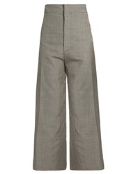 Jacquemus Hound's Tooth Wool Blend Cropped Trousers Grey