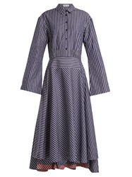 Teija Point Collar Striped Cotton Dress Blue Stripe
