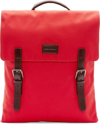 Dolce And Gabbana Red Canvas Leather Strap Backpack