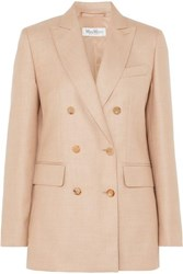 Max Mara Double Breasted Camel Hair And Silk Blend Blazer Sand