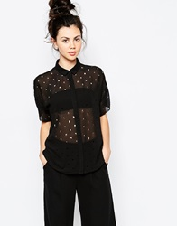 Dr. Denim Dr Denim Lazer Cut Blouse 101Black
