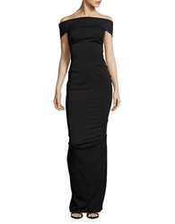 Nicole Bakti Off The Shoulder Gown Black