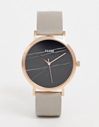 Cluse La Roche Rose Gold And Black Marble Leather Watch Grey