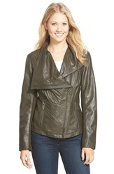 Women's T Tahari 'Trisha' Drape Front Leather Jacket Loden