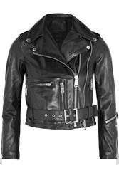 R 13 R13 Cropped Leather Biker Jacket Black