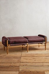 Anthropologie Leather Rhys Bench Oxblood