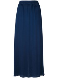 Emporio Armani Pleated Skirt Women Silk Polyester 44 Blue