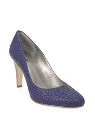 Tahari Naila Embossed Leather Pumps Blue