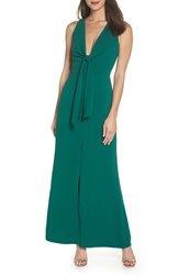 Harlyn Plunge Neck Tie Front Maxi Dress Hunter Green
