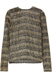 Isa Arfen Fringed Striped Lame And Jersey Top Gold