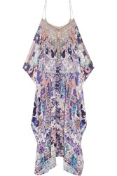 Camilla Cold Shoulder Embellished Printed Silk Kaftan Purple