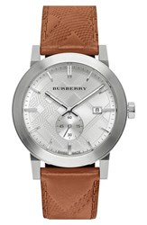 Men's Burberry Check Stamped Leather Strap Watch 42Mm