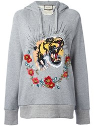 Gucci Tiger Embroidered Hooded Sweatshirt Grey