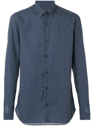 Z Zegna Polka Dot Shirt Men Cotton Xxl Blue