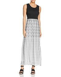 Calvin Klein Mixed Media Chevron Maxi Dress Black White